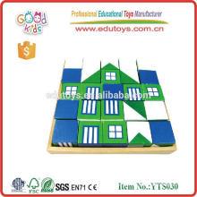 Blocos de construção educacional de madeira para crianças Blocos de design de casas com brinquedos de bandeja Intelecto