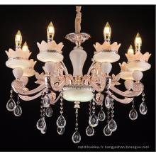 Lustre européen en cristal de jade Le salon salle à manger villa luxe salle en alliage de zinc bougie lustre Grand hôtel lampe de l'hôtel