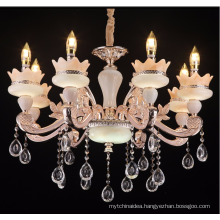 European jade crystal chandelier The sitting room dining-room villa luxury hall zinc alloy candle chandelier Big club hotel lamp