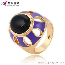 Moda fantasia oval pedra preta 18k banhado a ouro imitação de jóias anel de dedo-13717