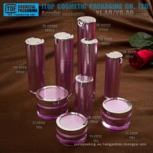 Venta por mayor buena calidad hermosa empaquetado cosmético plástico acrílico alta calidad cristalina de las capas dobles