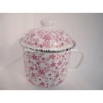 enamel mug/jar with metal lid and full design