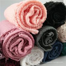 13 colores Nuevo diseño al por mayor de internet riffled bufanda de algodón dubai musulmán mujeres suave internet hiyab bufanda