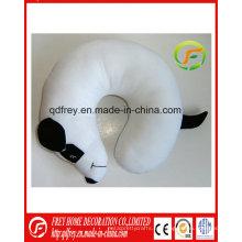 Almohada de almohada de cuello de juguete de perro blanco de felpa