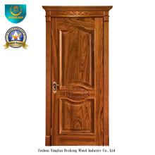 Porta de madeira maciça estilo europeu com escultura (ds-049)