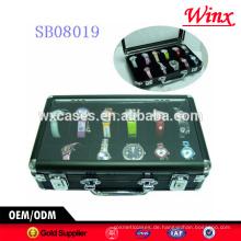 Heißer Verkauf!!! Luxus 12 Uhrengehäuse, Aluminiumgehäuse für Männer mit einem klaren zeigen oben