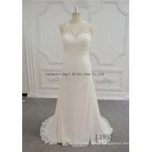 Fotos reais de vestidos de casamento Chiffon sem costas