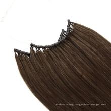 Wholesale 20 Inch Color #4 No Tip Hair with Micro Ring Human Hair Virgin Hair Remy Hair Extension Raw Hair