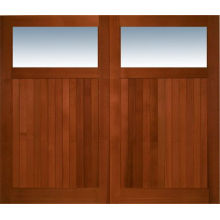 Double Door Panel Doule Opening Red Oak Glass Solid Wood Exterior Door