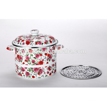 double layer enamel steamer with full color