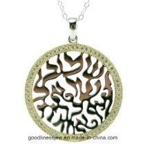 Fábrica de jóias de design quente CZ pingente de prata de pedra para a mulher (P6063)