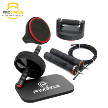 3-In-1Home Workout Ausrüstung AB Rad Kit mit Push Up Bar & Springseil