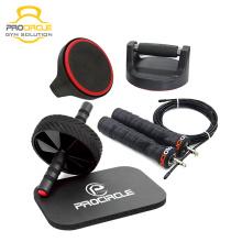 3-In-1Home Workout Equipment AB Juego de ruedas con barra de empuje y cuerda de salto
