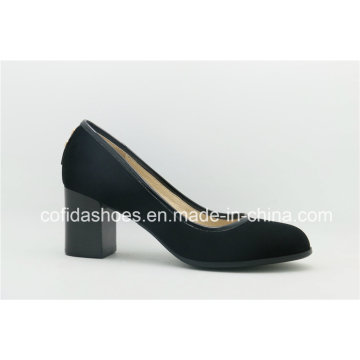Simple Design Comfort Chunky Heel Leather Lady Shoes