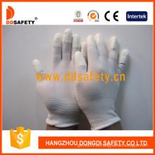 Guante blanco de nylon de PU, muñeca de punto (DPU101)