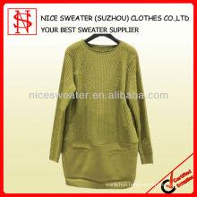 Wool/Acrylic round neck women 2015 beautiful dress long sleeve