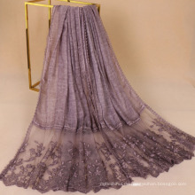 Top qualität premium 200 * 95 floral stickerei muslimischen spitze baumwolle hijab schal für frauen