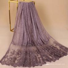 Top qualidade premium 200 * 95 floral bordado muçulmano lenço de algodão hijab lenço para as mulheres