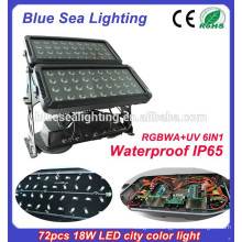 72pcs 18w 6 in 1 rgbwauv ip65 waterproof led outdoor stadium lighting