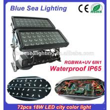72pcs 18w 6 em 1 rgbwauv ip65 impermeável iluminação exterior europeu