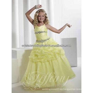 La venta caliente acanaló el desfile del chica de flor del amarillo del vestido de bola viste CWFaf5261