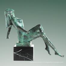 Statue nue Village Lady Bronze Sculpture Tple-038