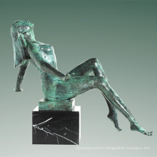 Nude Statue Village Lady Bronze Sculpture Tple-038