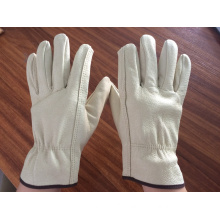 natural color pig grain leather driver gloves