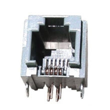 Modular PCB jack, 031-6P side entry, RJ11, round pin with metal pegs