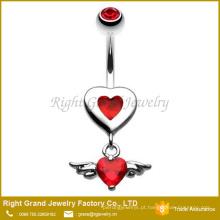 Anel de umbigo de coração de aço vermelho Cirurgia encantadora Angel