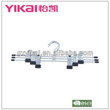chrome-plated metal skirt hanger with metal cilps