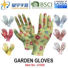 Luvas de jardim, impressão Polyestershell Nitrilo transparente revestido acabamento suave, luvas de trabalho (G1000) com CE, En388, En420