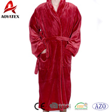 Cheap price factory wholesale soft solid flannel fleece shawl collar men long bathrobe