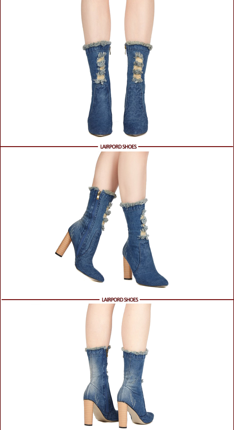 Denim Leather spring Boots