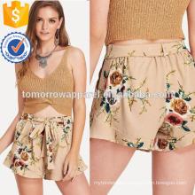 Floral Print Self Shorts Manufacture Wholesale Fashion Women Apparel (TA3025B)