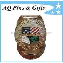 Clip de dinero suave del esmalte del golf del metal con la bandera de los EEUU (Golf-26)