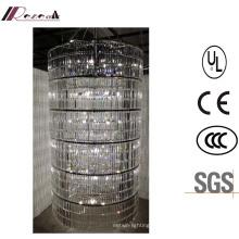 Französische moderne Lobby Große zylindrische Luxus klar Kristall Kronleuchter