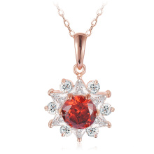 Latest 18k Rose Gold Plated Sunflower Pendant Necklace (CNL0211-A)