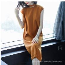 PK18CH002 femmes robe coton mélangé à manches courtes pull