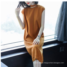 PK18CH002 women dress cotton blend short sleeve pullover