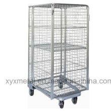 Wire Fully Sided Security Rolling Mobile Cage, Nestable Roll Container