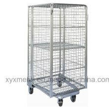 Wire Full-Sided Security Rolling Mobile Cage, Nestable Roll Container