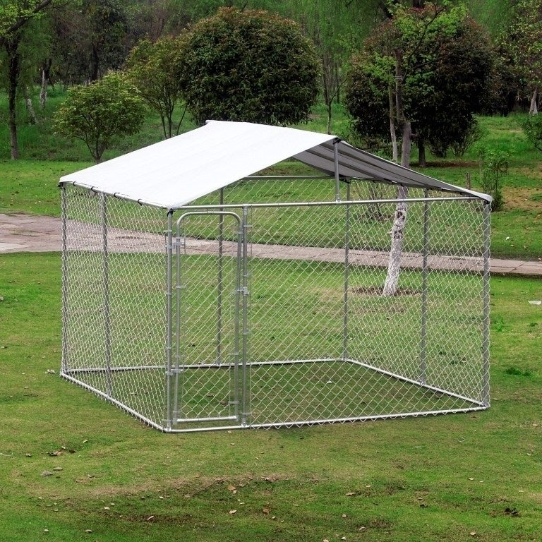 Outdoor-Chain-Link-Box-Kennel-Dog-House