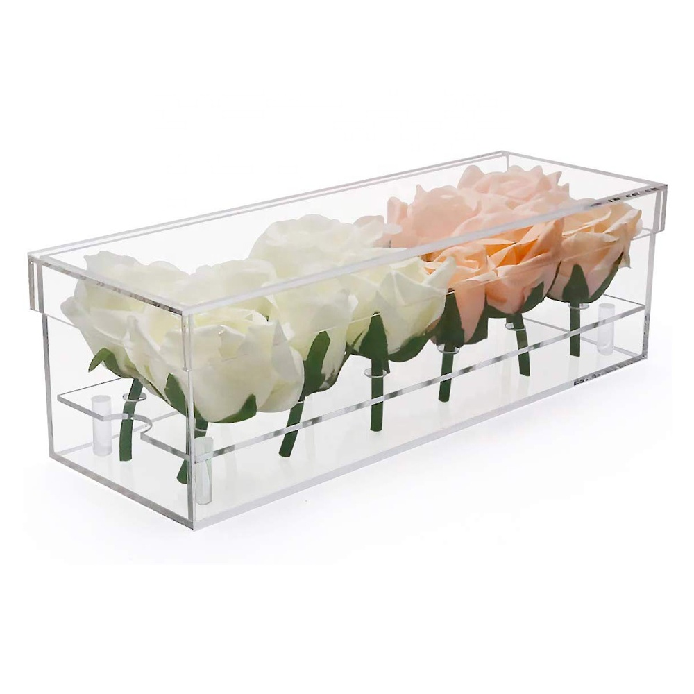 Lucite Flower Boxes Gift Case Rectangle