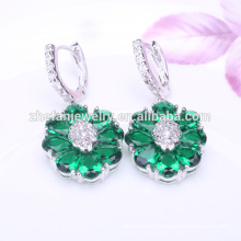 colorful hoop emerald green flower earrings