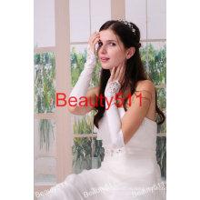 Astergarden пальцев Белый кружево вышивка бисером Свадебные перчатки ASJ001