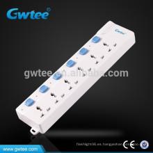 Enchufe eléctrico universal de la sobrecarga de la toma de 6 maneras con los interruptores individuales