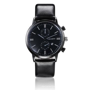 6821 Multifunction Wristwatch Black IP Plated