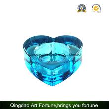 Candelero de cristal del candelita del color azul de la forma del corazón