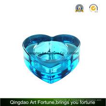 Coração Forma Azul Cor Tealight Glass Candle Holder
